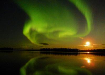 Northern Lights over Egenolf Lake Moonrise