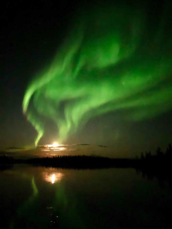 Northern Lights over Egenolf Lake Moonrise