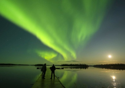 Northern Lights over Egenolf Lake Pier