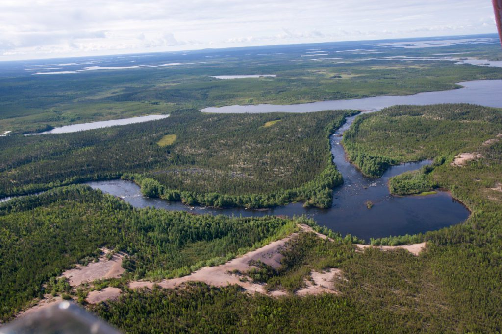 aerial image of the eskers and surrounding water
