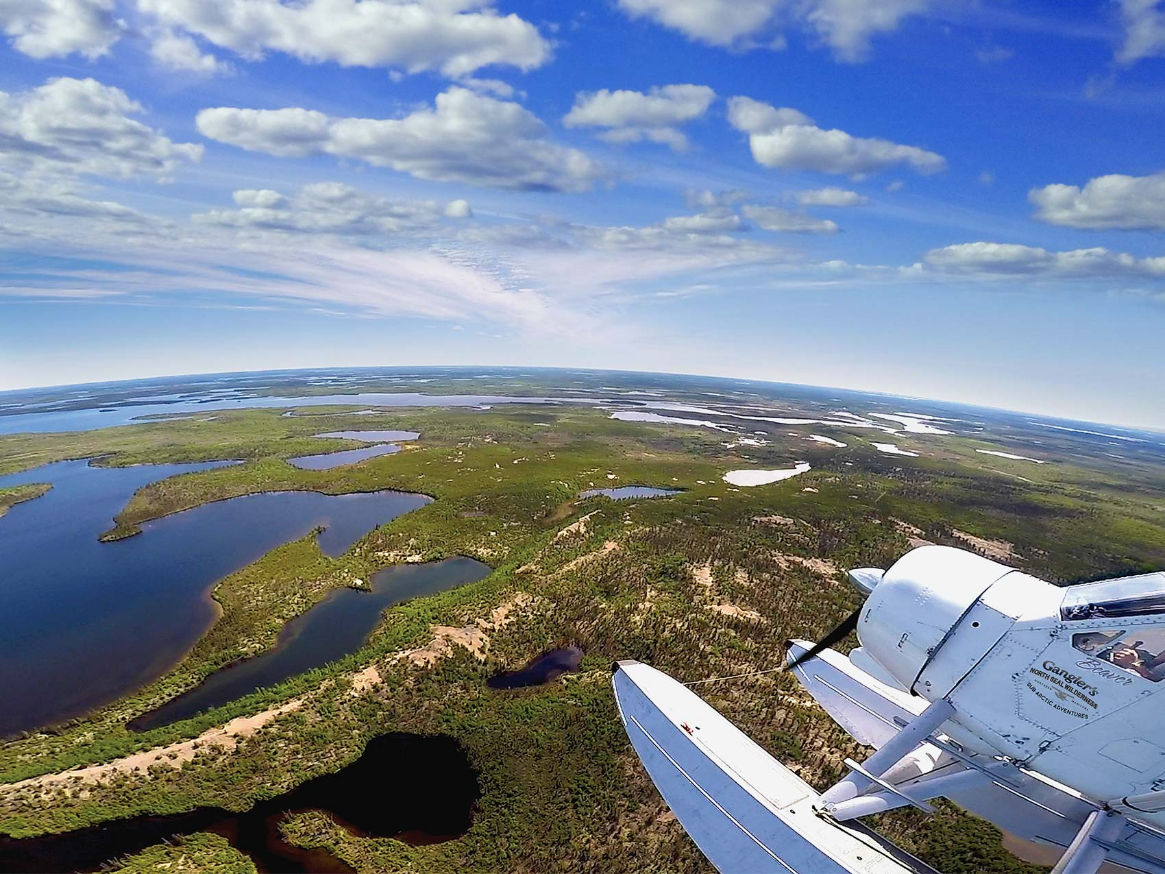 Aerial view of a float plane flying over Gangler's North Seal Lodge